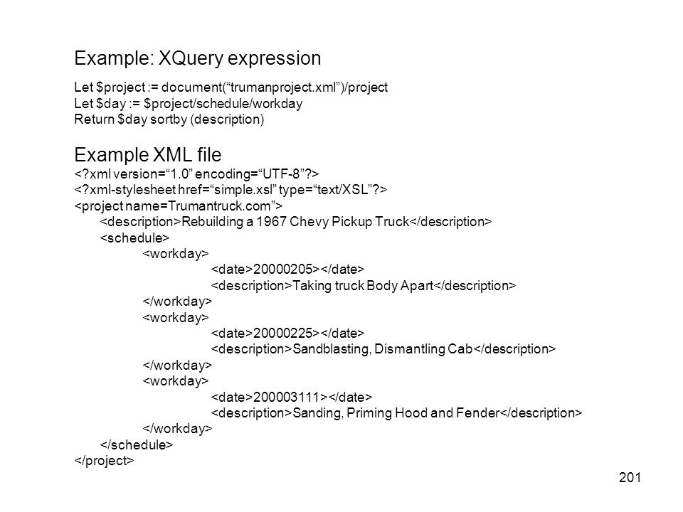 Example: XQuery expression