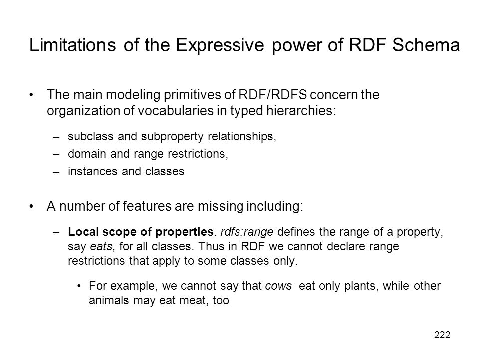 Limitations of the Expressive power of RDF Schema