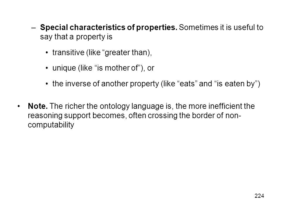 Special characteristics of properties