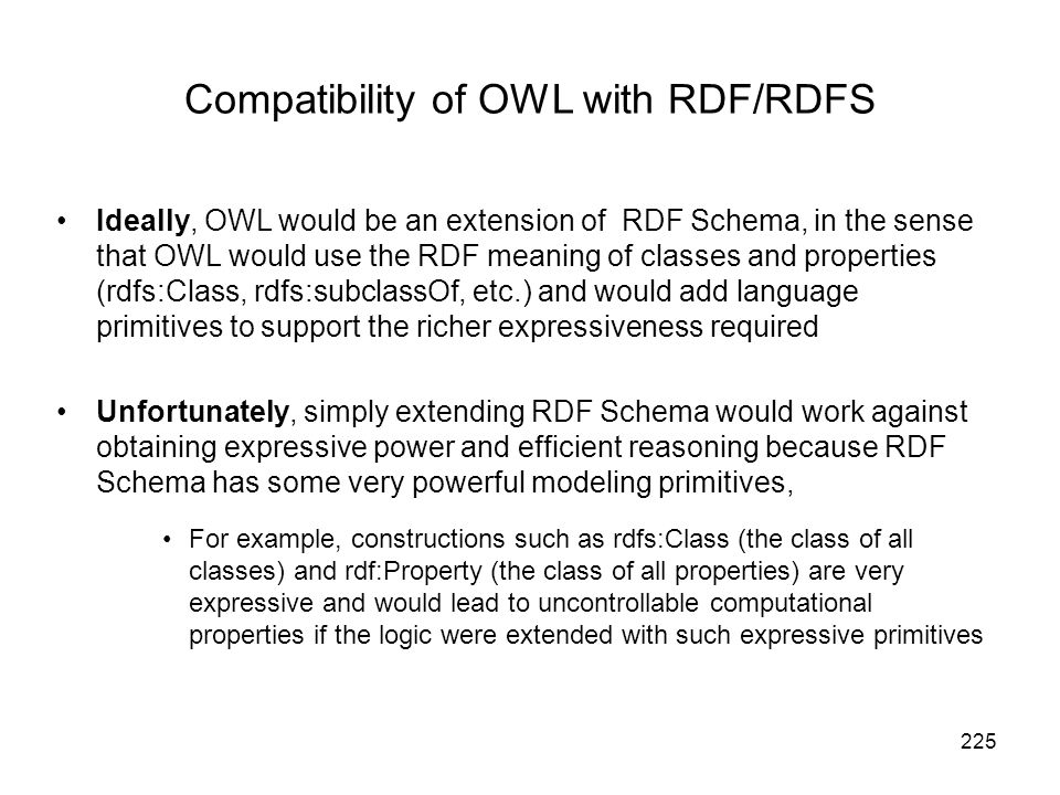 Compatibility of OWL with RDF/RDFS