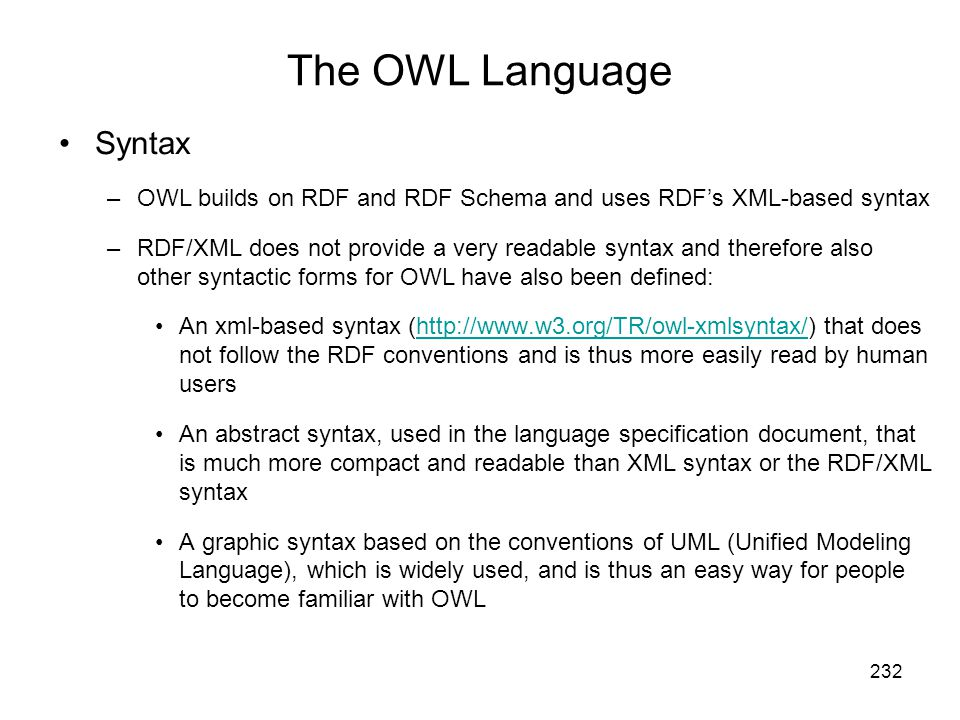 The OWL Language Syntax
