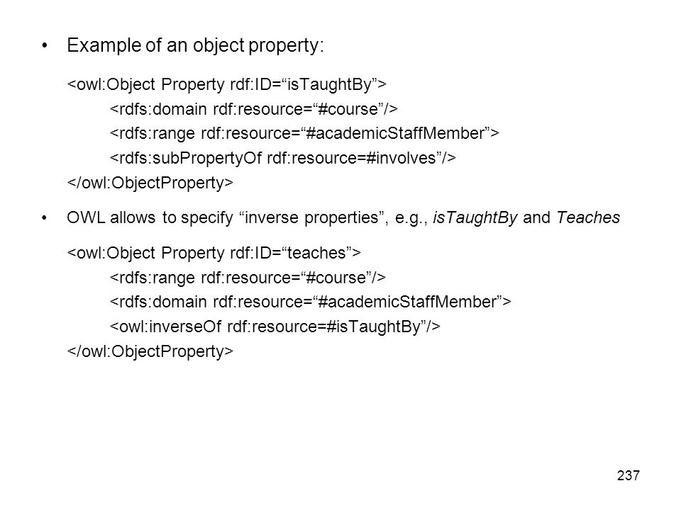Example of an object property: