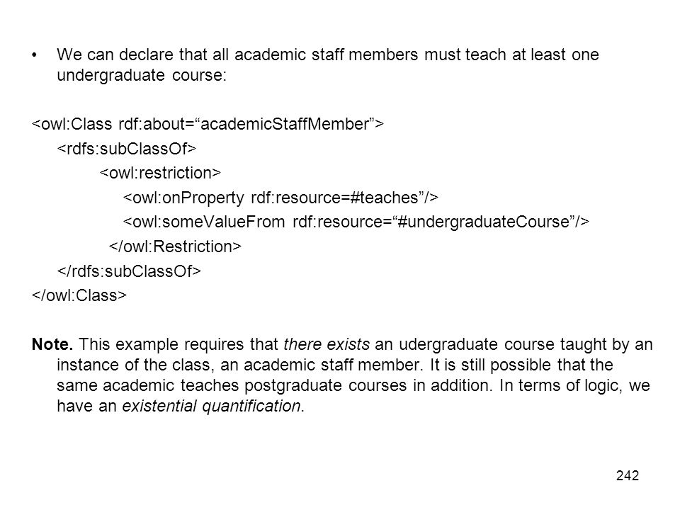 We can declare that all academic staff members must teach at least one undergraduate course: