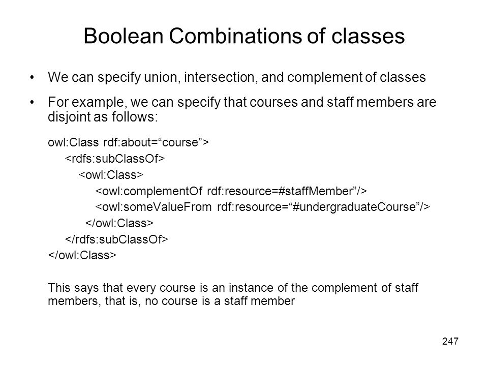 Boolean Combinations of classes
