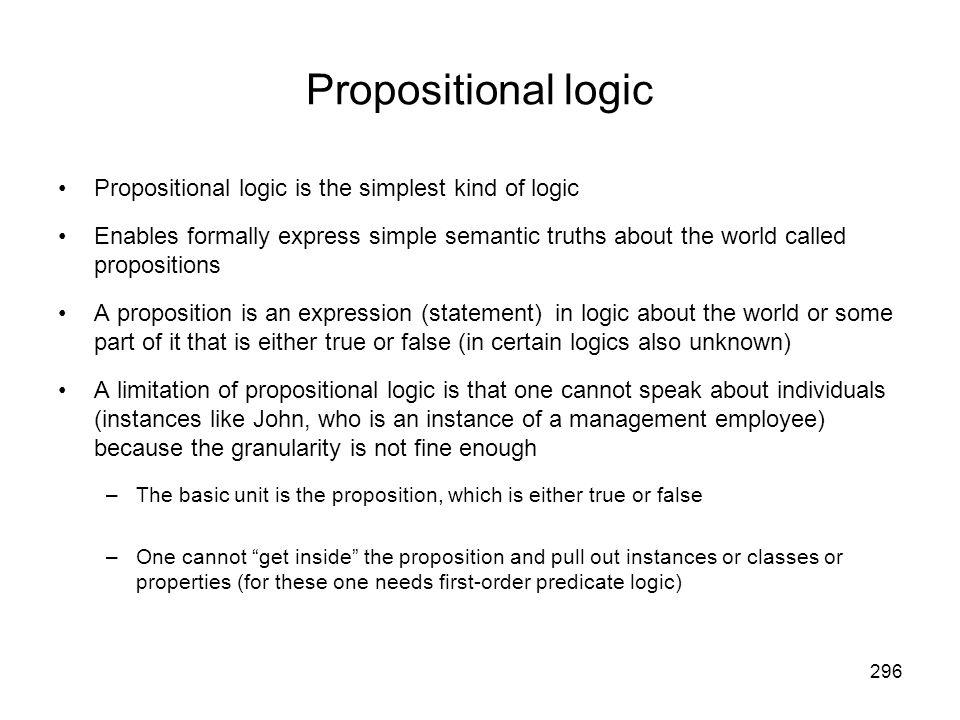Propositional logic Propositional logic is the simplest kind of logic