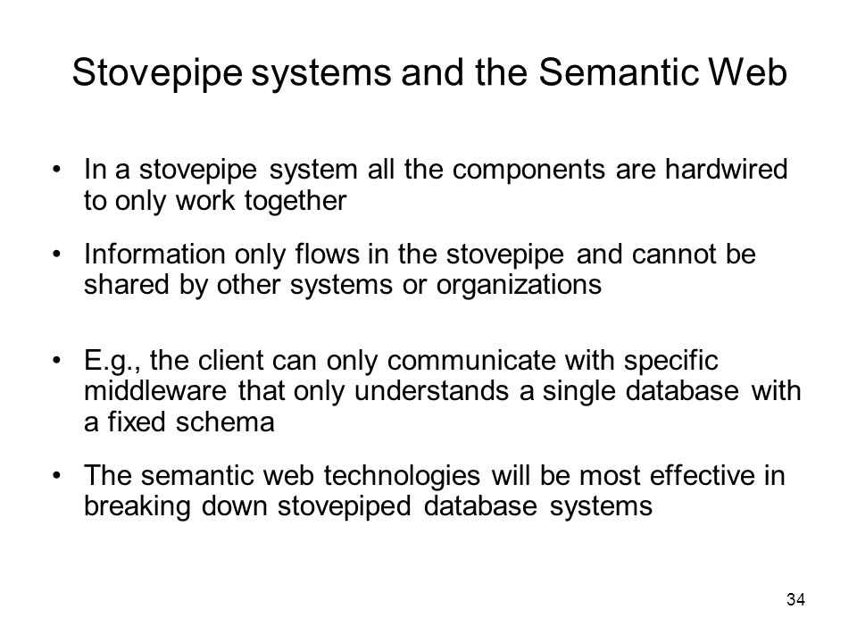 Stovepipe systems and the Semantic Web