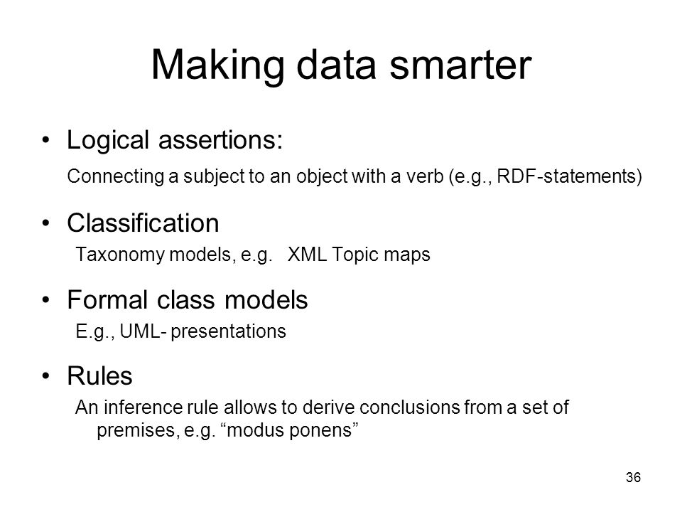 Making data smarter Logical assertions: Classification