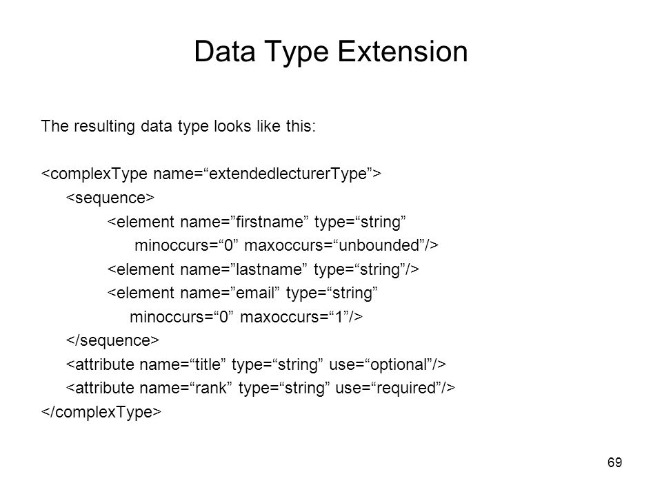 Data Type Extension The resulting data type looks like this: