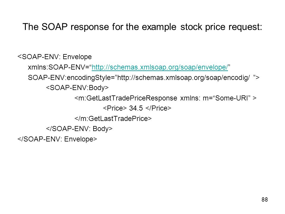 The SOAP response for the example stock price request: