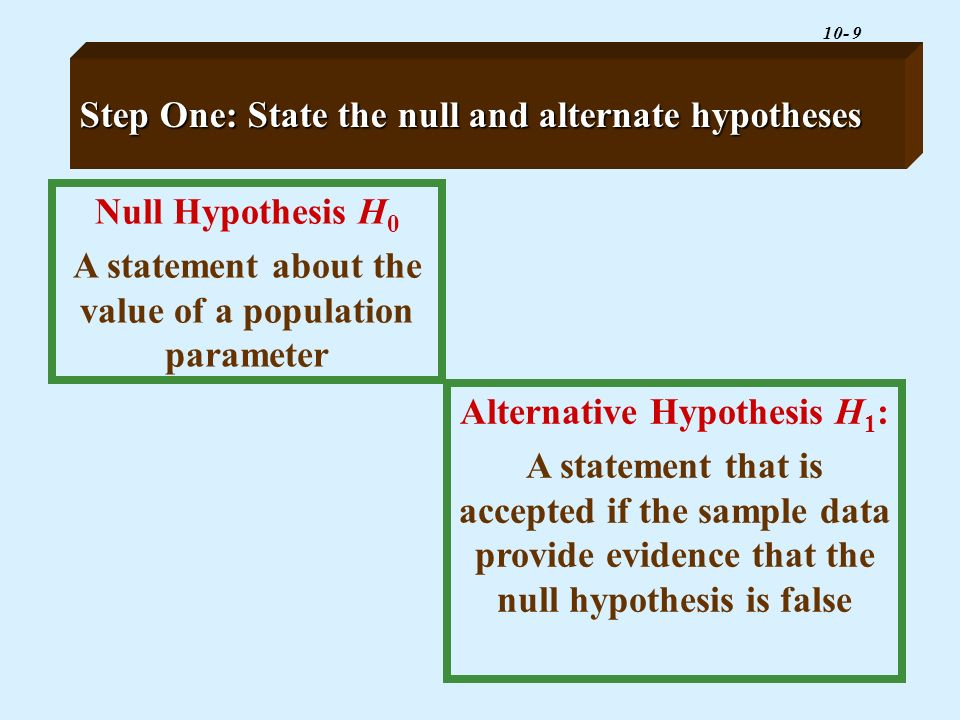 Step One: State the null and alternate hypotheses