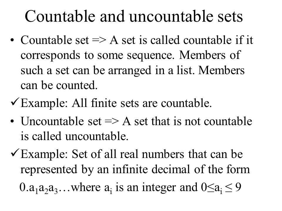 Pigeonhole principle,cardinality,countability.