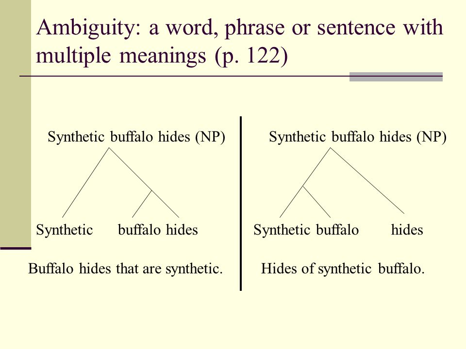 Ambiguity: a word, phrase or sentence with multiple meanings (p. 122)