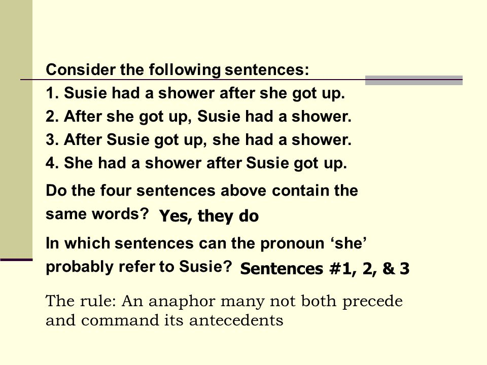Consider the following sentences: