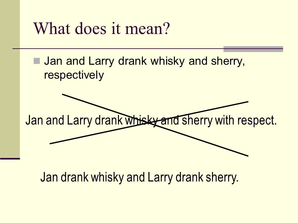 What does it mean Jan and Larry drank whisky and sherry with respect.