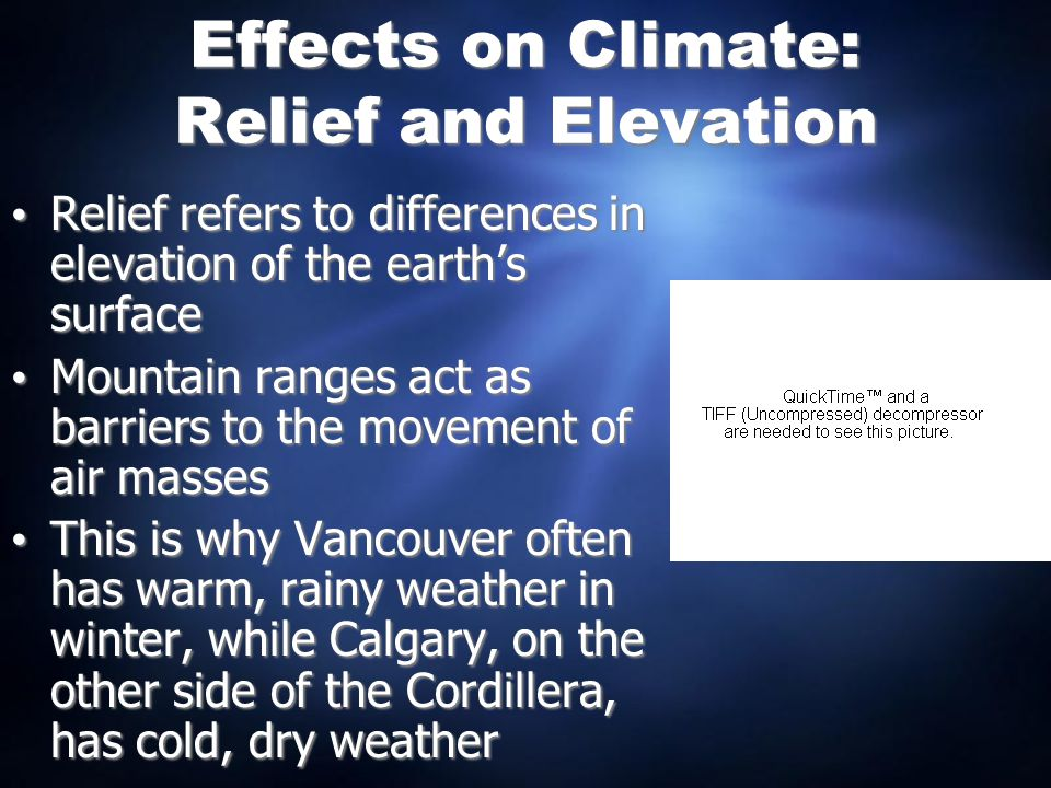 Effects on Climate: Relief and Elevation