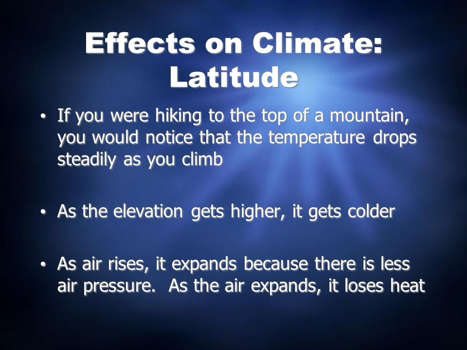 Effects on Climate: Latitude