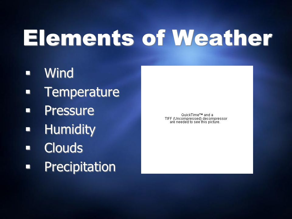 Elements of Weather Wind Temperature Pressure Humidity Clouds