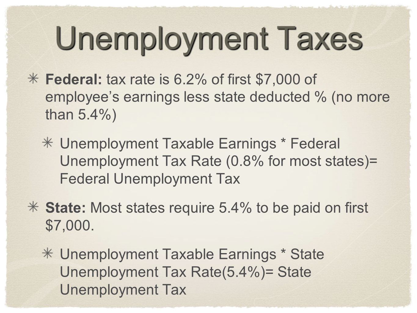 Unemployment Taxes Federal: tax rate is 6.2% of first $7,000 of employee's earnings less state deducted % (no more than 5.4%)