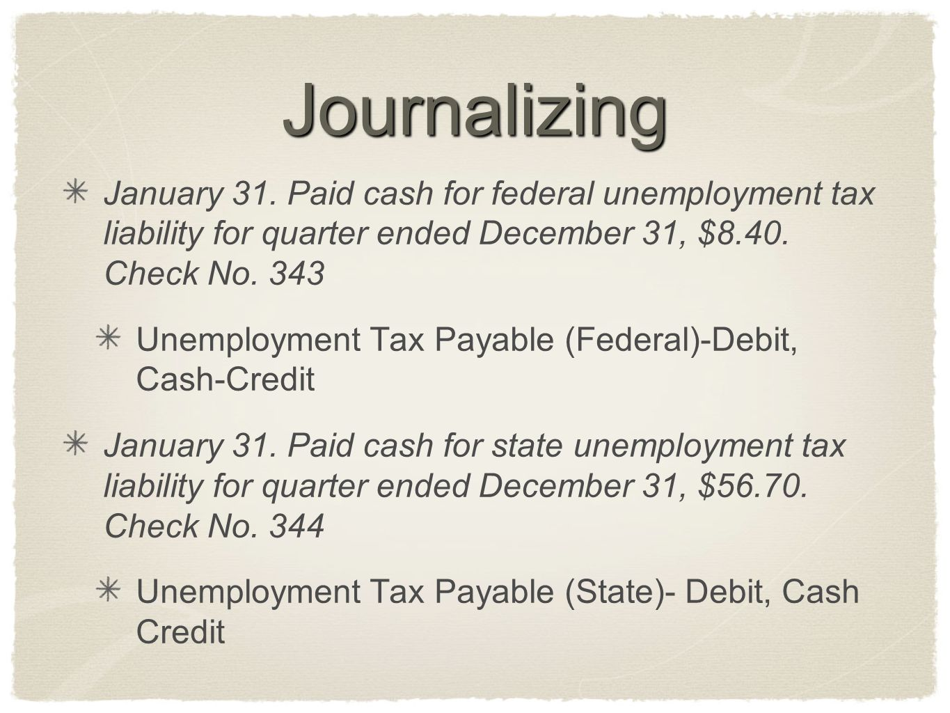 Journalizing January 31. Paid cash for federal unemployment tax liability for quarter ended December 31, $8.40. Check No