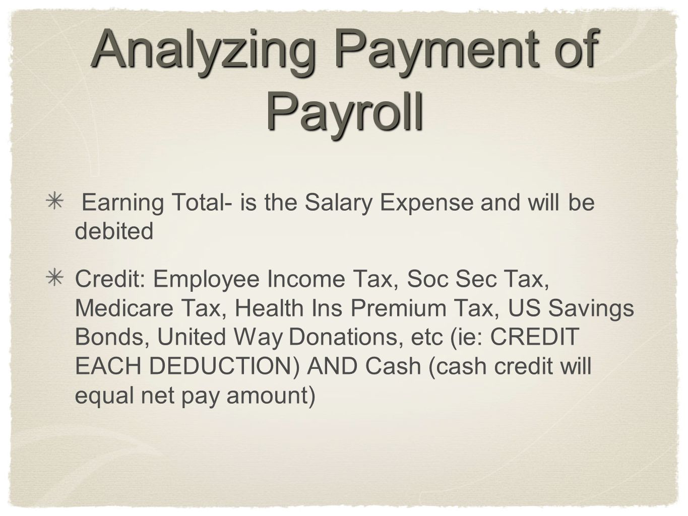 Analyzing Payment of Payroll