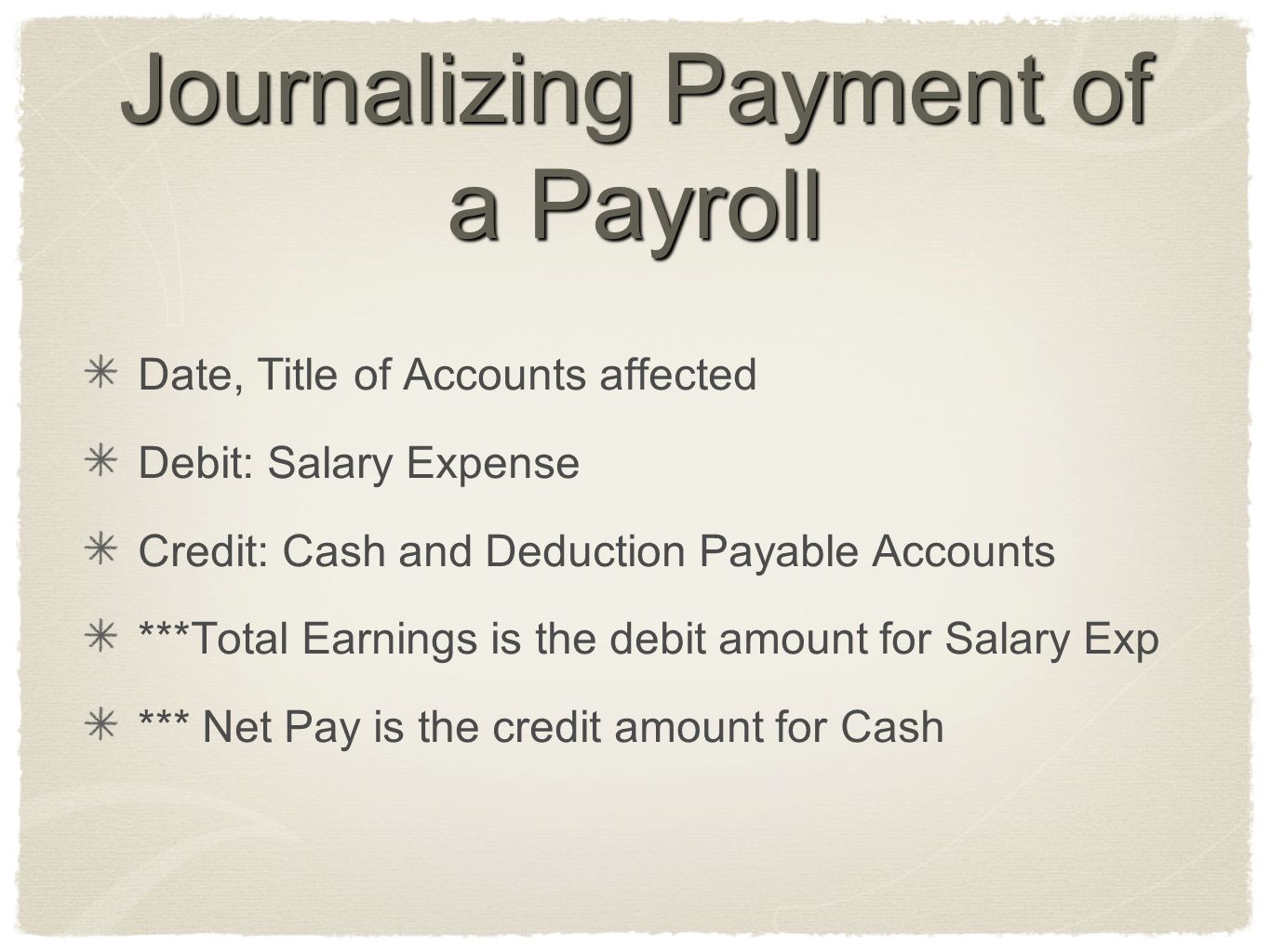 Journalizing Payment of a Payroll