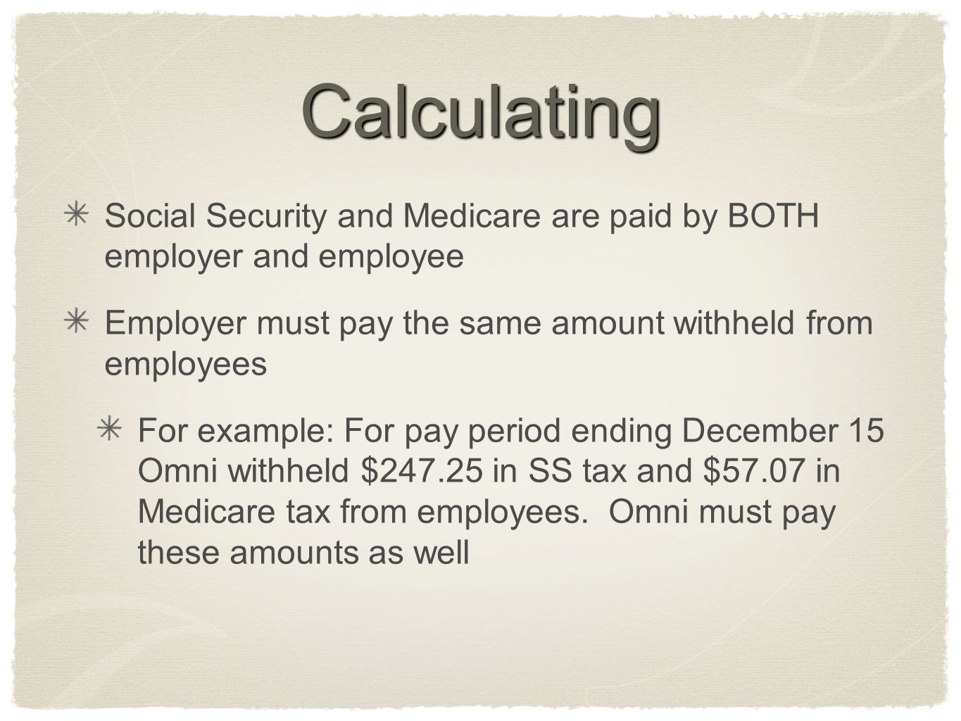 Calculating Social Security and Medicare are paid by BOTH employer and employee. Employer must pay the same amount withheld from employees.