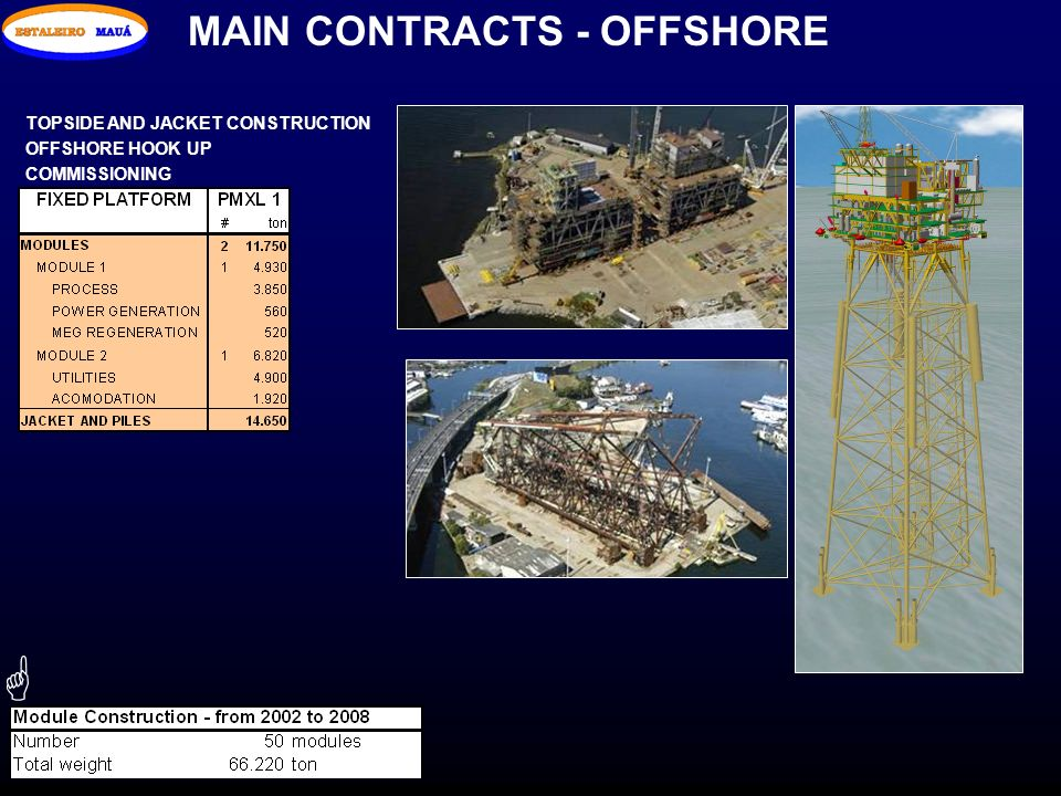 G MAIN CONTRACTS - OFFSHORE TOPSIDE AND JACKET CONSTRUCTION
