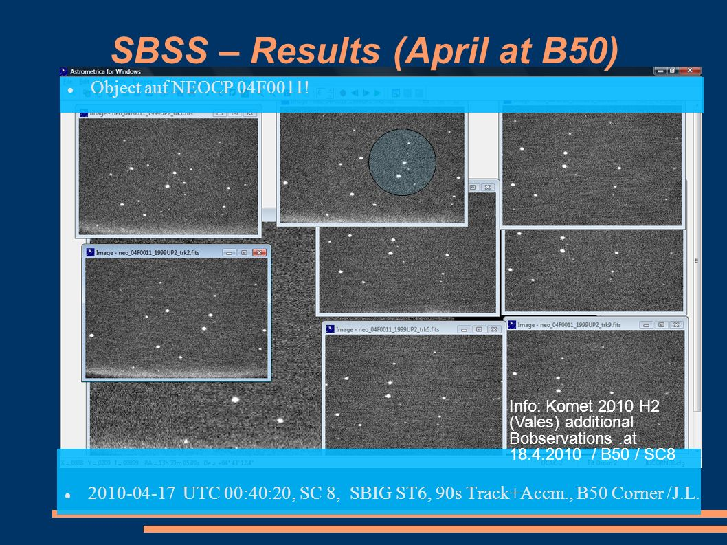 SBSS – Results (April at B50)