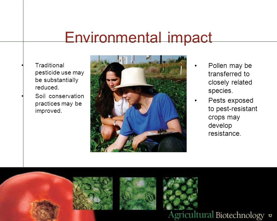 Environmental impact Traditional pesticide use may be substantially reduced. Soil conservation practices may be improved.