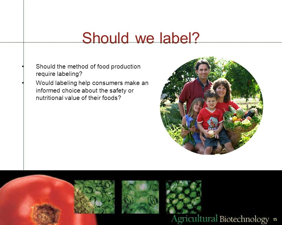 Should we label Should the method of food production require labeling
