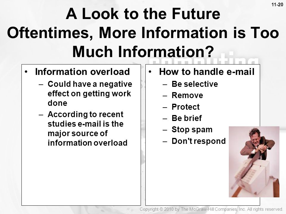 11-20 A Look to the Future Oftentimes, More Information is Too Much Information Information overload.