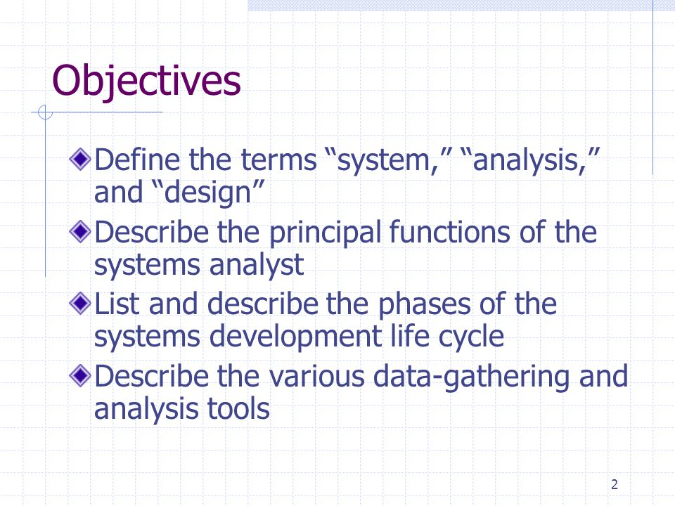 Objectives Define the terms system, analysis, and design