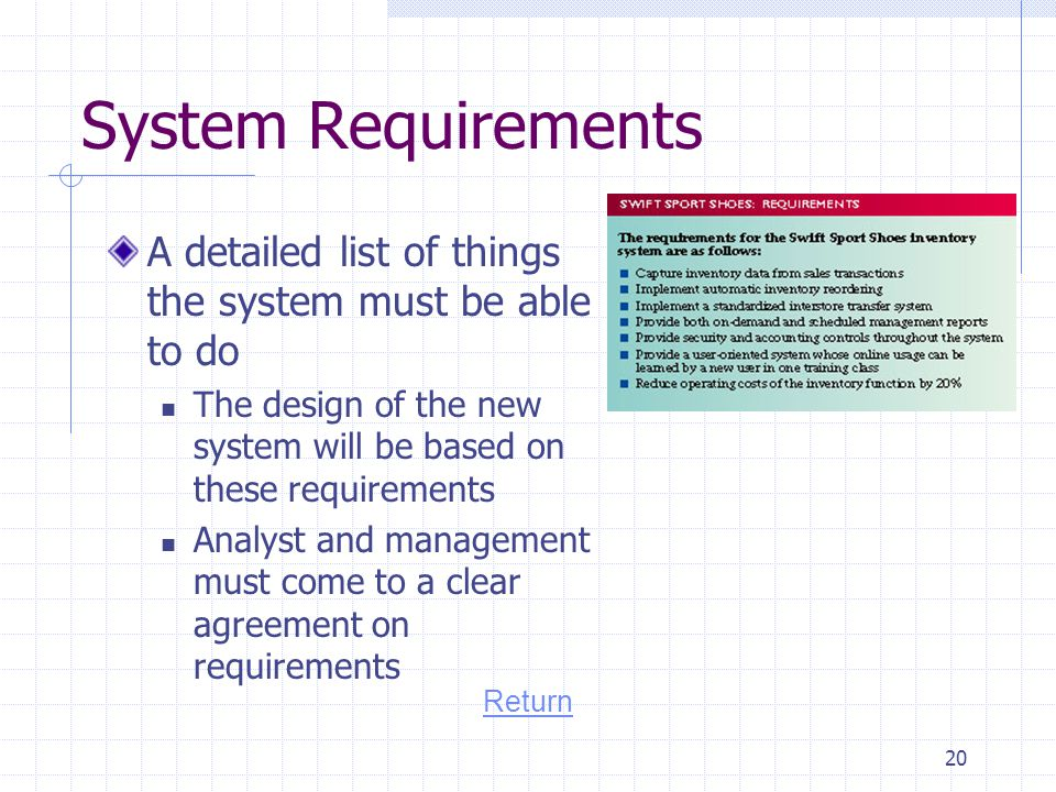 System Requirements A detailed list of things the system must be able to do. The design of the new system will be based on these requirements.