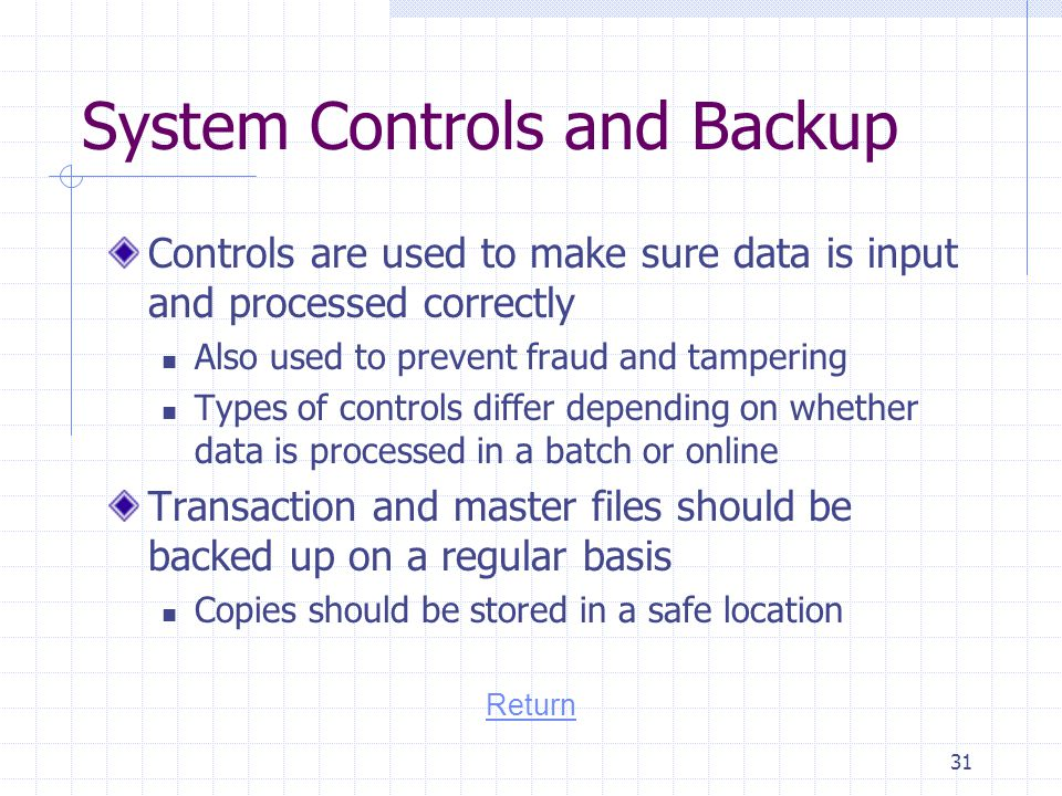 System Controls and Backup