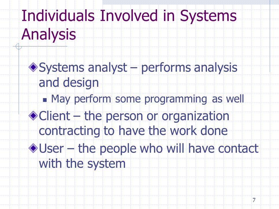 Individuals Involved in Systems Analysis