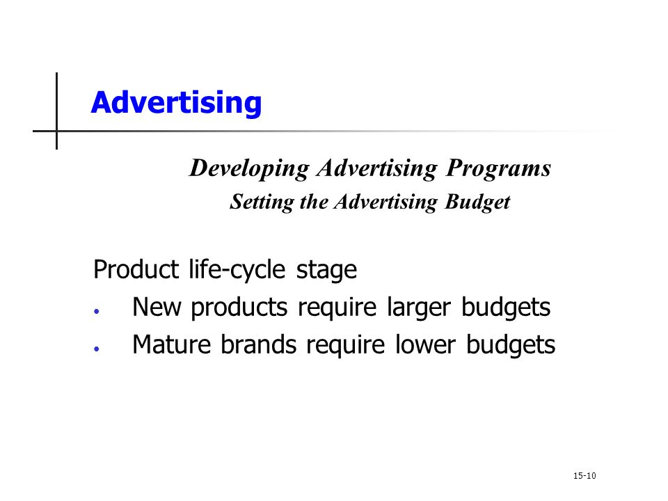 Developing Advertising Programs Setting the Advertising Budget