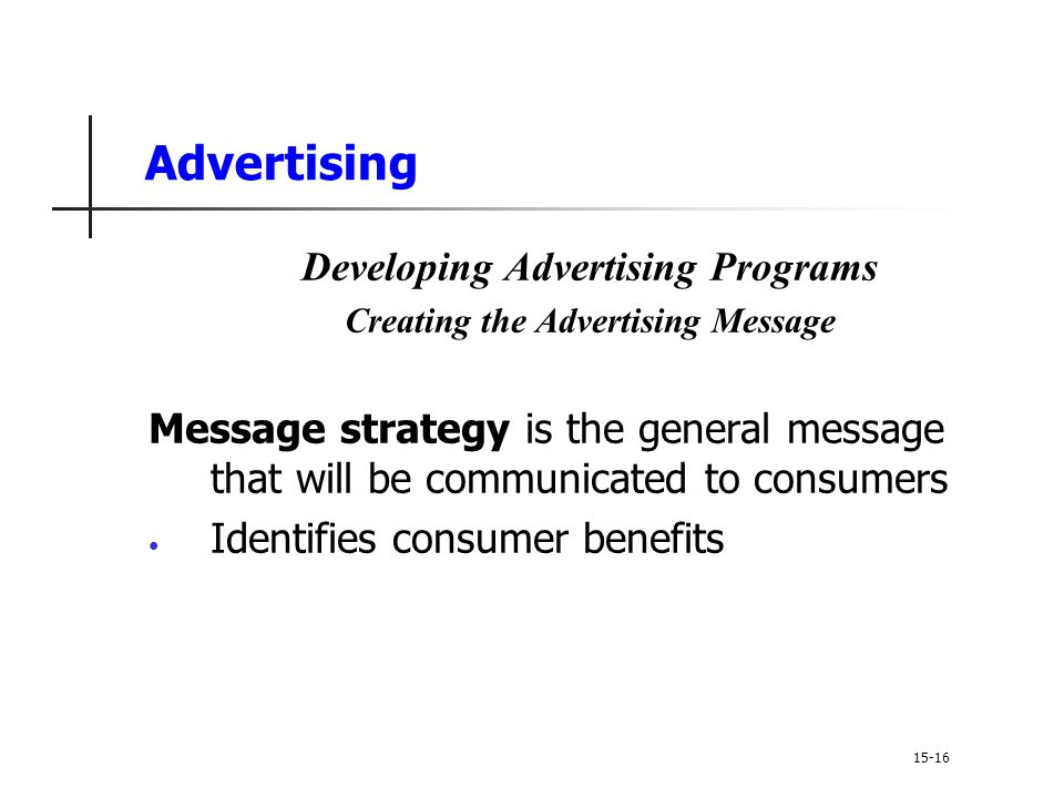 Developing Advertising Programs Creating the Advertising Message