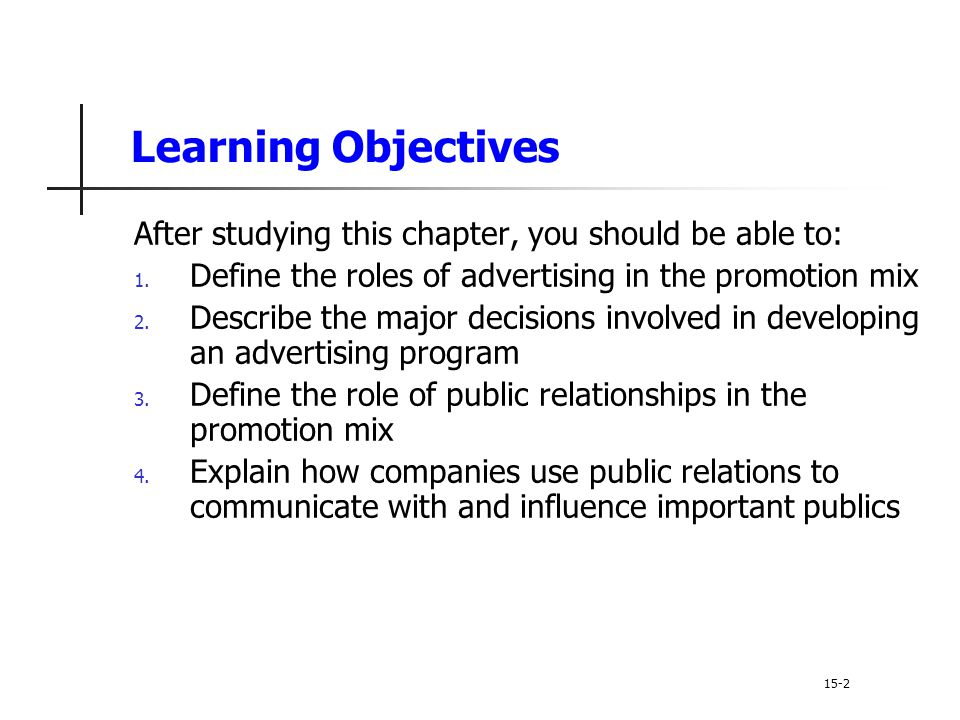 Learning Objectives After studying this chapter, you should be able to: Define the roles of advertising in the promotion mix.
