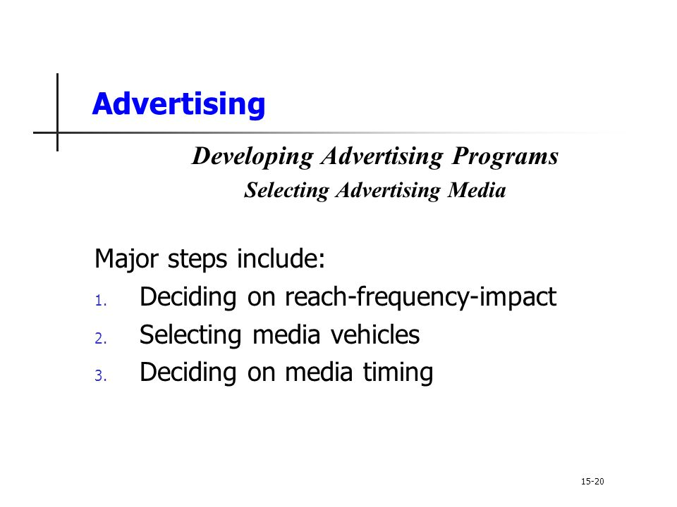 Developing Advertising Programs Selecting Advertising Media