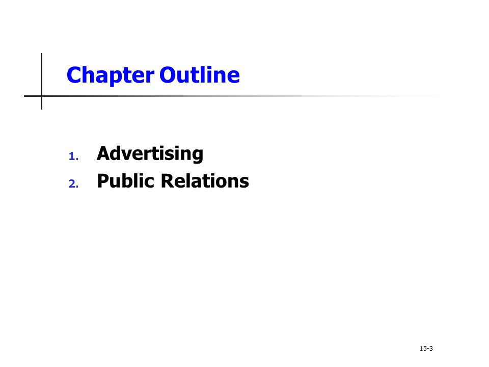 Chapter Outline Advertising Public Relations 15-3