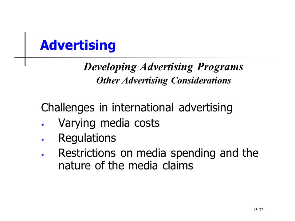 Developing Advertising Programs Other Advertising Considerations