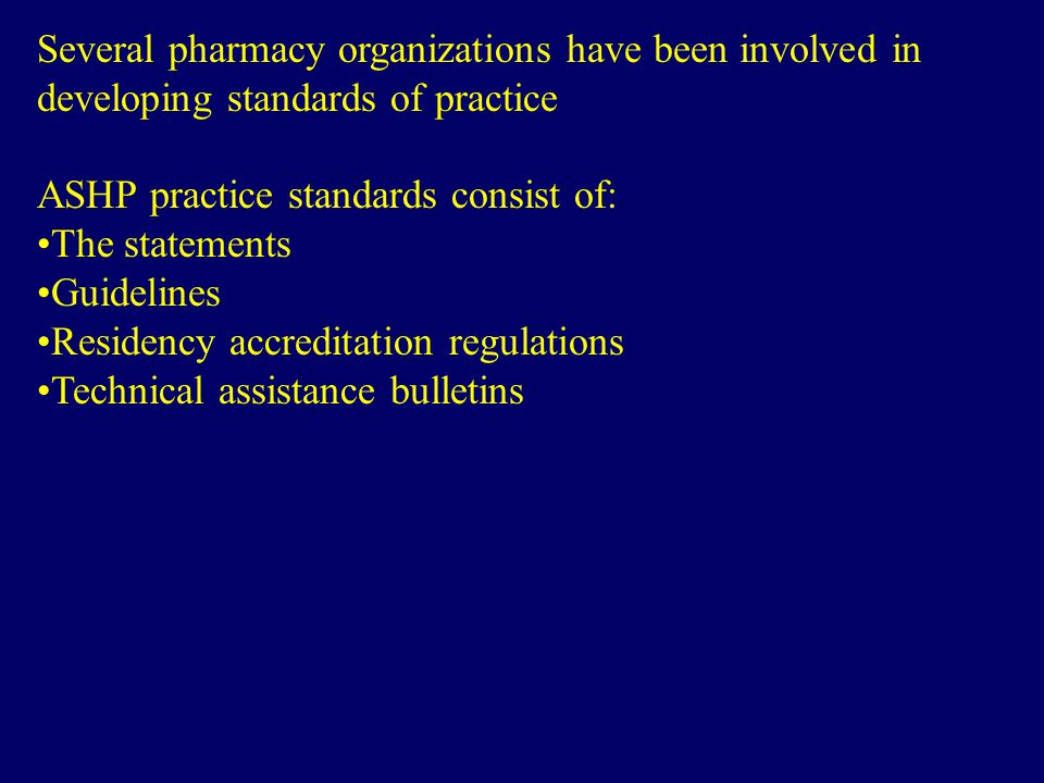 Several pharmacy organizations have been involved in developing standards of practice