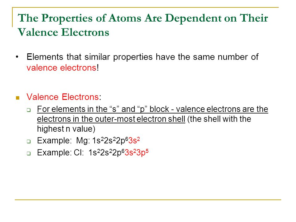 The Properties of Atoms Are Dependent on Their Valence Electrons