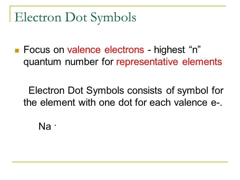 Electron Dot Symbols Focus on valence electrons - highest n quantum number for representative elements.