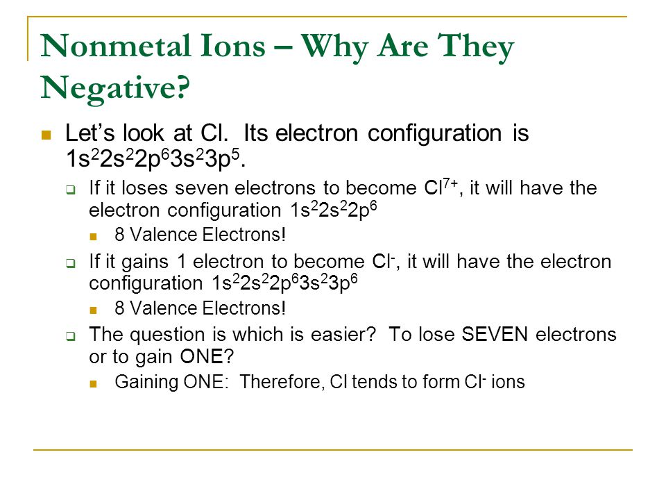 Nonmetal Ions – Why Are They Negative