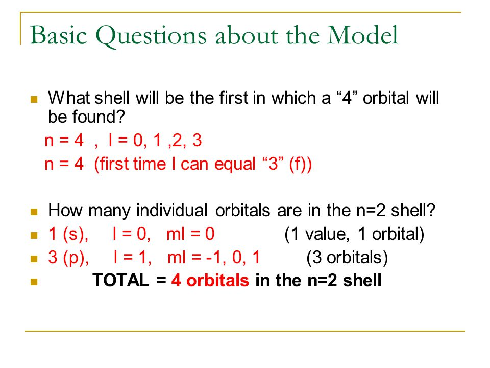 Basic Questions about the Model