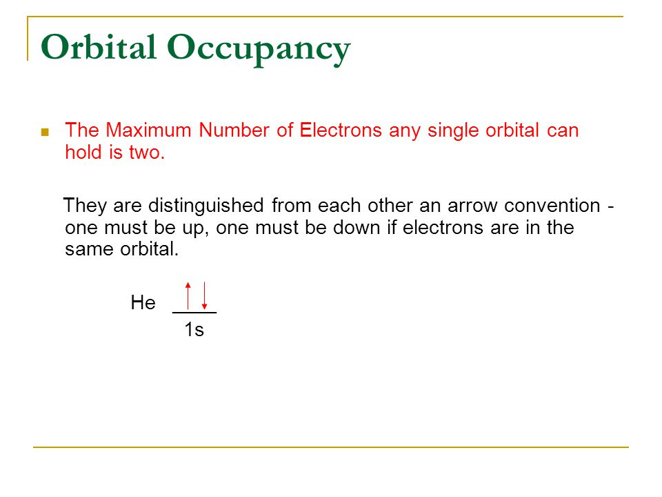Orbital Occupancy The Maximum Number of Electrons any single orbital can hold is two.