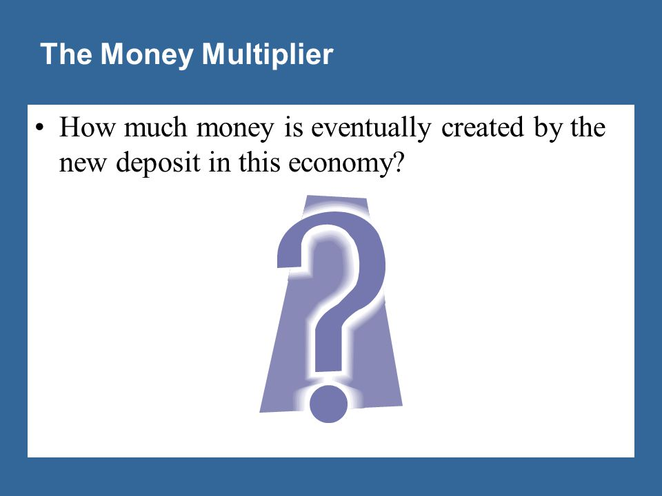 The Money Multiplier The money multiplier is the amount of money the banking system generates with each dollar of reserves.