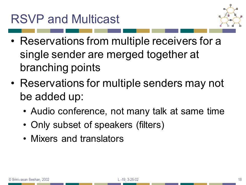 RSVP and Multicast Reservations from multiple receivers for a single sender are merged together at branching points.