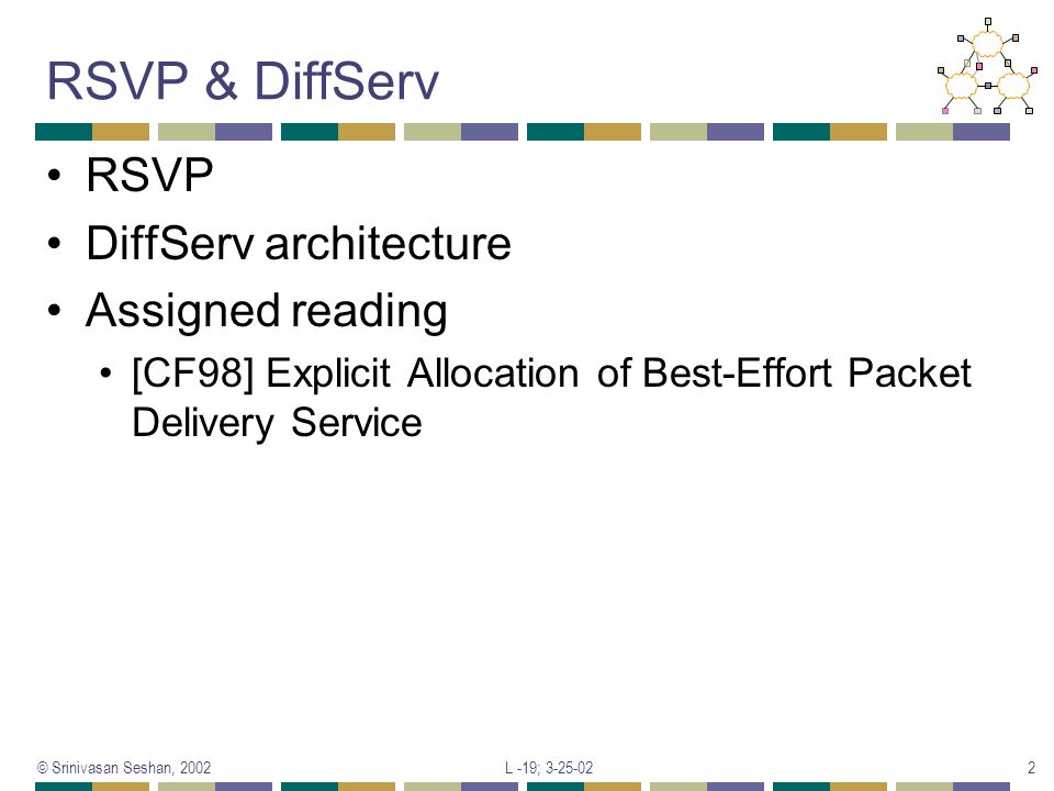 RSVP & DiffServ RSVP DiffServ architecture Assigned reading